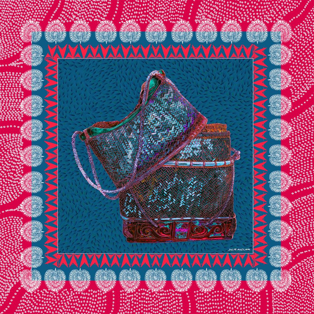 FOULARD-BORNEO ROUGE 66x66 cm-tema-galerie